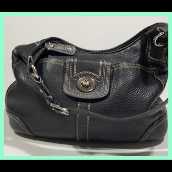 Coach Handbags - Coach Purse Black Shoulder Bag Zipper Pockets